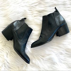 Vintage Black Leather Point Toe Chunky Ankle Boots